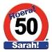 Huldeschild hoera 50 Sarah